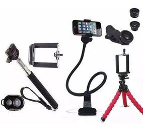 Kit Youtuber Tripé Flexivel Suporte Celular Pau Selfie Ganso