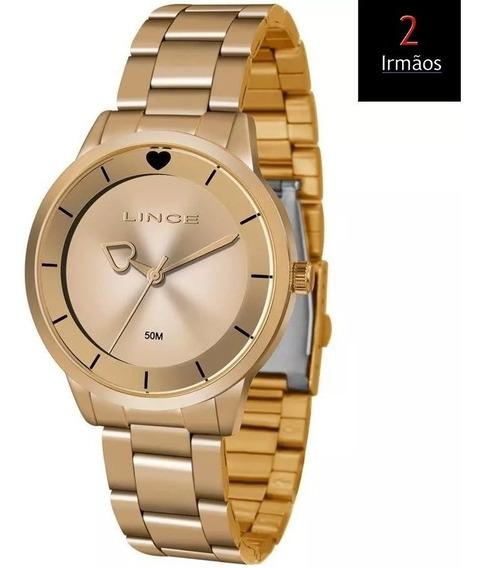Relógio Lince Feminino Rose Ponteiro De Coração Lrr4572l