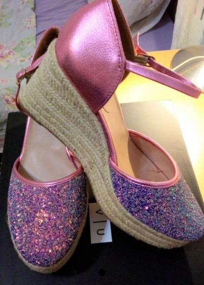 Zapatos Cuero Vacuno Rosa Metalizado Con Glitters. Nuevos.
