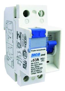 Disyuntor Interruptor Diferencial Bipolar Ac 3ka 2x63a Sica