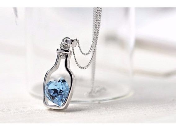 Colar Garrafa Coração Azul Cristal Pingente Pronta Entrega!