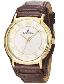 Relógio Champion Feminino Pulseira Couro Caixa Ouro Cn20319s