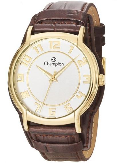 Relógio Champion Feminino Pulseira Couro Caixa Ouro