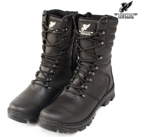 Coturno Bota Militar Policia Federal Airsoft Paintball Couro