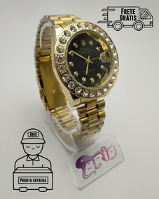 Relógio Masculino Cravejado Rolex Dourado 2019 Lançamento 19