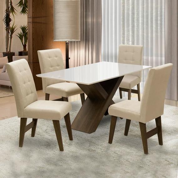 Conjunto Mesa De Jantar Off White Dubai Castanho / Areia
