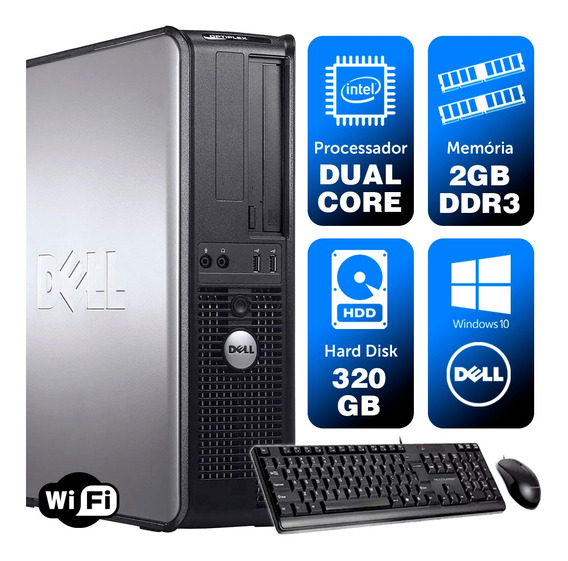 Desktop Usado Dell Optiplex Int Dcore 2gb Ddr3 320gb Brinde