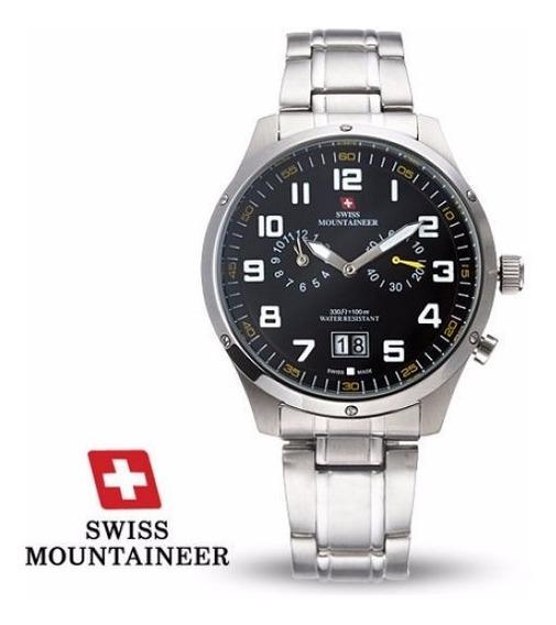 Relogio Suiço Watch Swiss Mountaineer Sm1220 Steel Aço