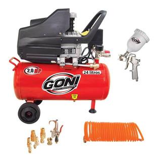 Kit Set Compresor 24 L Con Tanque 930 + Pistola Gravedad 600 Ml 33010 + Manguera Espiral 5m 1301 + Accesorios 4207 Goni