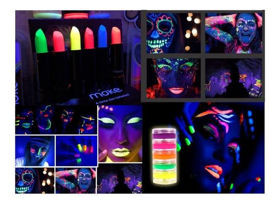 5 Tinta Facial + 3 Batom Neon Brilha Maquiagem Fluorescente