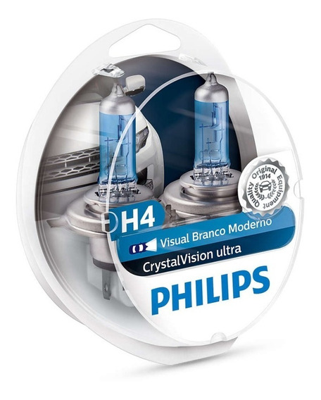 Kit Lâmpada Philips Crystal Vision Ultra H4 55w-12v 4300k