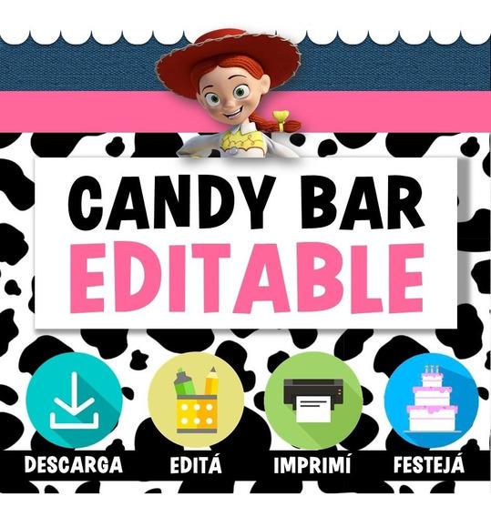 Kit Candy Bar Editable Toy Story Jessie Vaquera Nena Rosa
