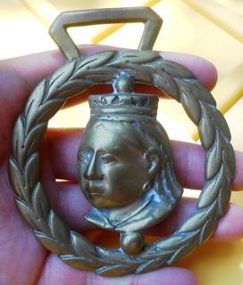 Raro Adorno Bronce Correaje Caballo De La Reina Victoria