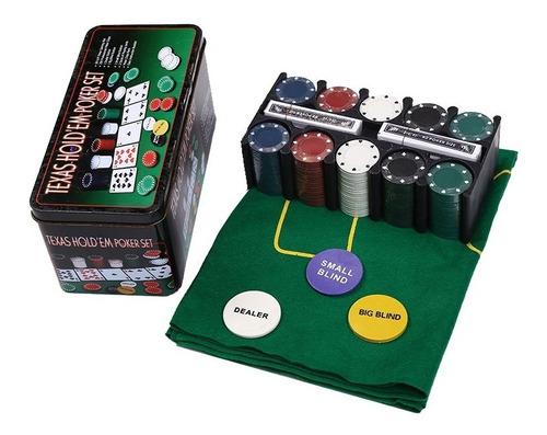 Imagem 1 de 3 de Kit Jogo Lata De Poker 200 Fichas Numeradas Profissional