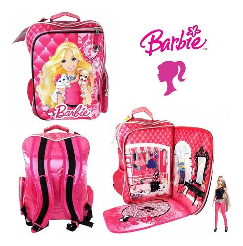 Mochila Barbie Con Vestidor Y Porta Muñeca 16 Pulgadas