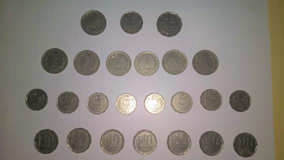 Lote Moneda Nacional (24) Series Completa 1, 5, 10 Y Conmemo