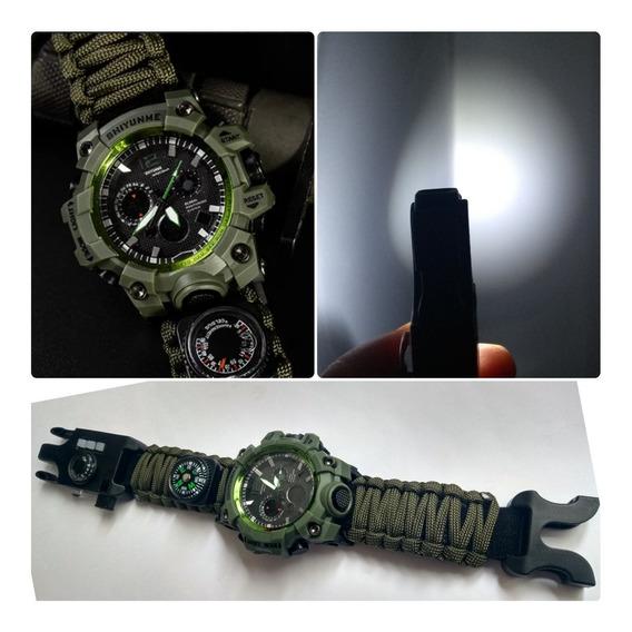 Relógio Addies C/ Pulseira De Sobrevivência 6 Em 1 Original