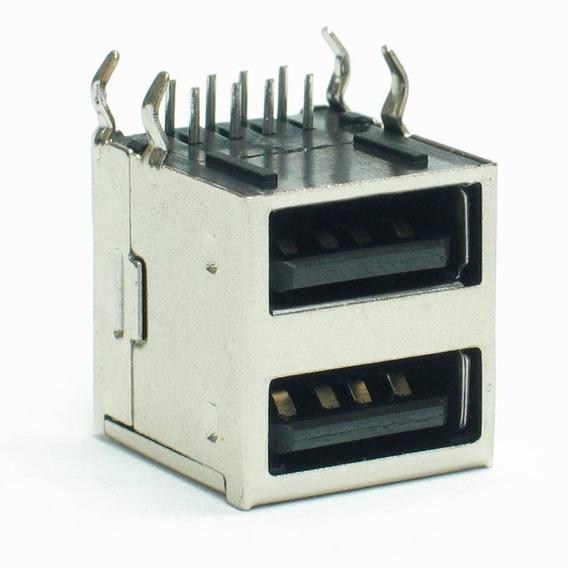 Conector Usb Duplo Tipo A Fêmea 90° Placa (01-0025)