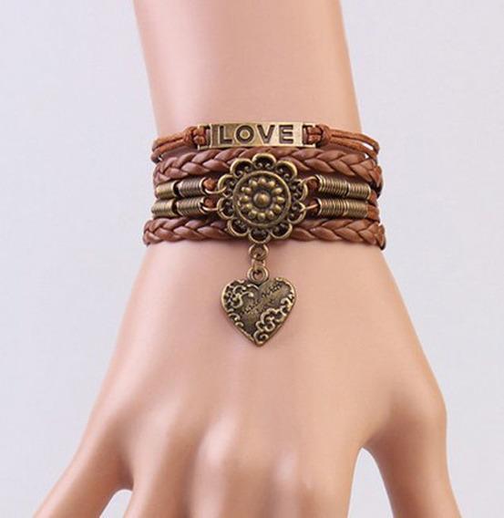 Pulseira Bracelete Couro Marrom Love Coração Mandala - 46