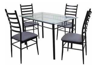 Set De Comedor Mesa Y Sillas Tapizado Eco Cuero Negro