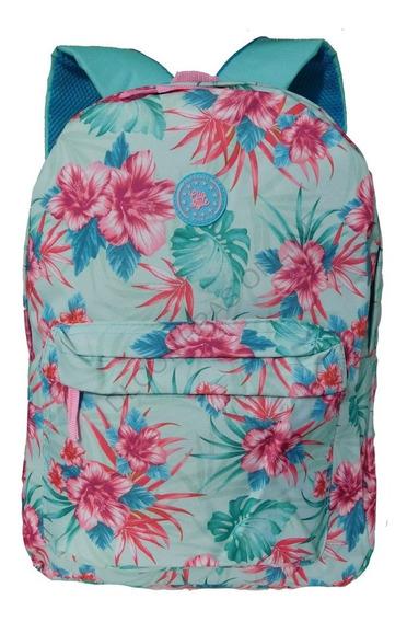 Mochila Escolar Bolsa Feminina Floral Lisa Juvenil Meninas