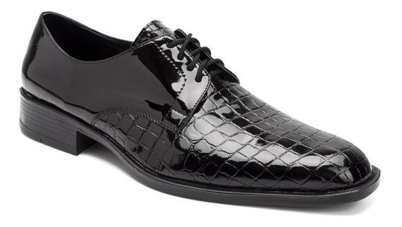 Zapatos Vestir Croco Con Cinto Autobrillo Eco Cuero Import