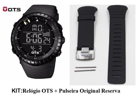 Relogio Ots Digital + Pulseira Original Reserva + Brinde