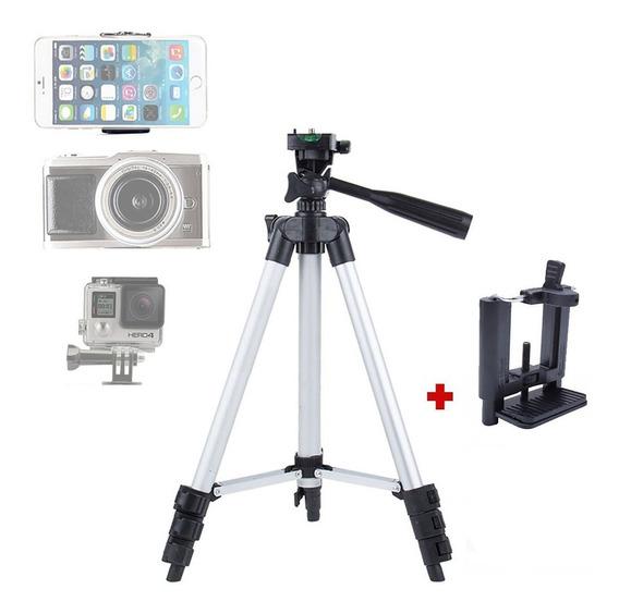 Tripé Flexível Articulado Alumínio Com Suporte Celular Câmera 1,02m Com Nível Resistente Semi-profissional Leve Prático