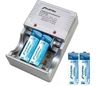 Cargador De Baterias Con 4 Pilas Aa Recargables 2500ma