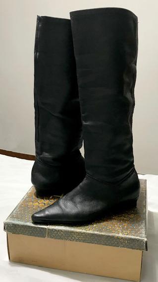 Botas Negras Caña Alta S/taco Marca Adso Talle 37 Suela Febo