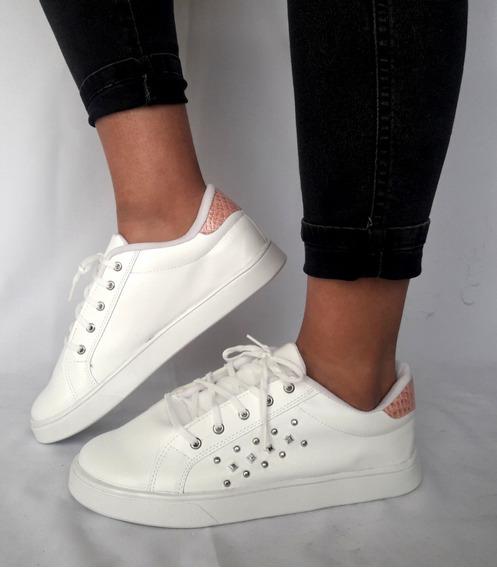Mal018 Zapatillas Talles Grandes Mujer Blancas Tachas Eco