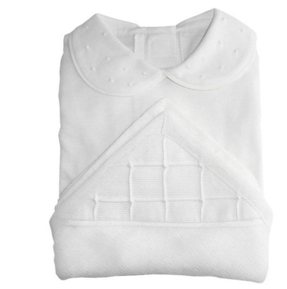 Kit Body Branco Com Gola Bordada.