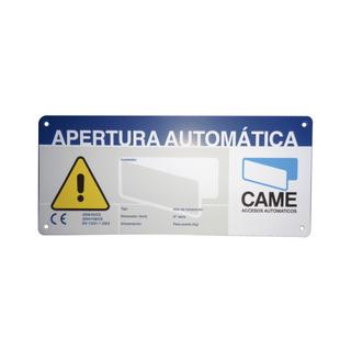Letrero De Aviso Peligro Para Puertas Automáticas Came