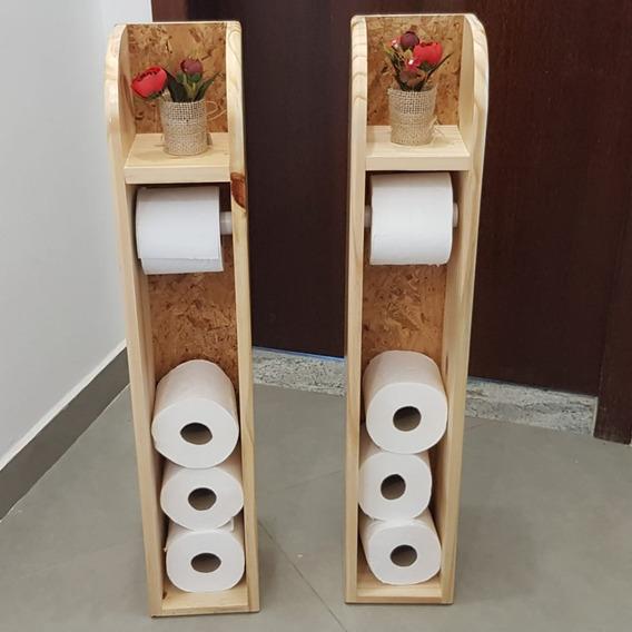 2 Porta Papel Higiênico Feito De Pinos Com Fundo De Osb
