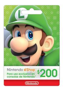 Tarjetas Nintendo Eshop $200 P/ Mexico Switch Wii U 3ds