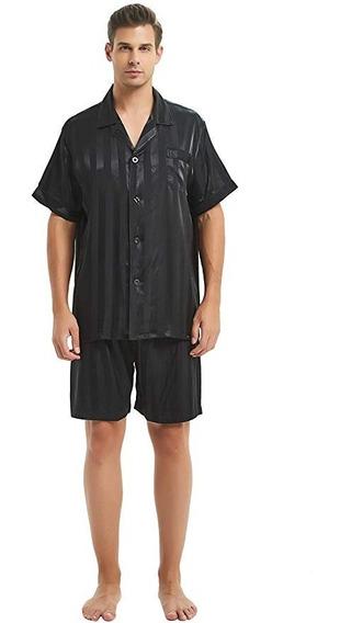 Lonxu Pijama Para Hombre Tipo Seda Para Dormir Comoda Short
