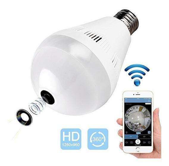 Camera Ip Segurança Lâmpada Vr360 Panoramica Wifi Espiã Som