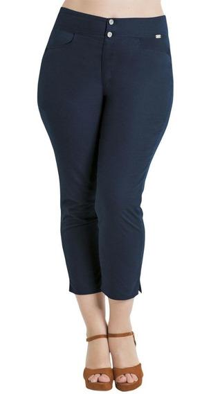 Calça Cropped Marinho Sarja Plus Size Quintess