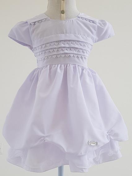Vestido Infantil Branco Batizado Casamento C/ Bolero E Tiara