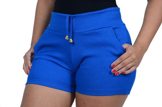 Kit 15 Shorts Feminino Material; Ribana Canelado . (atacado)