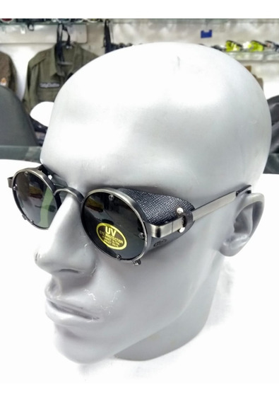Óculos Retrô Redondo Pequeno Com Proteção Lateral De Couro
