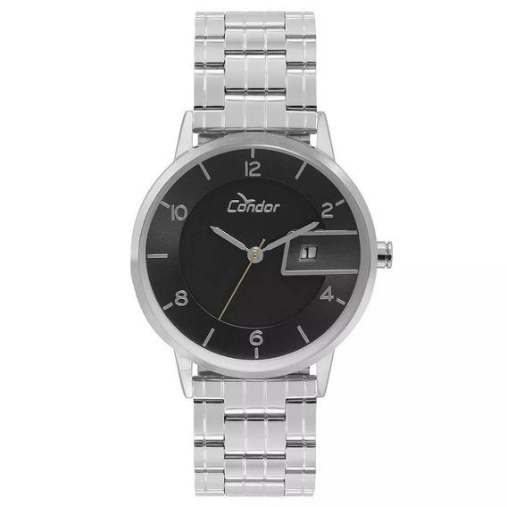 Relógio Condor Masculino Casual Prata Slim Original