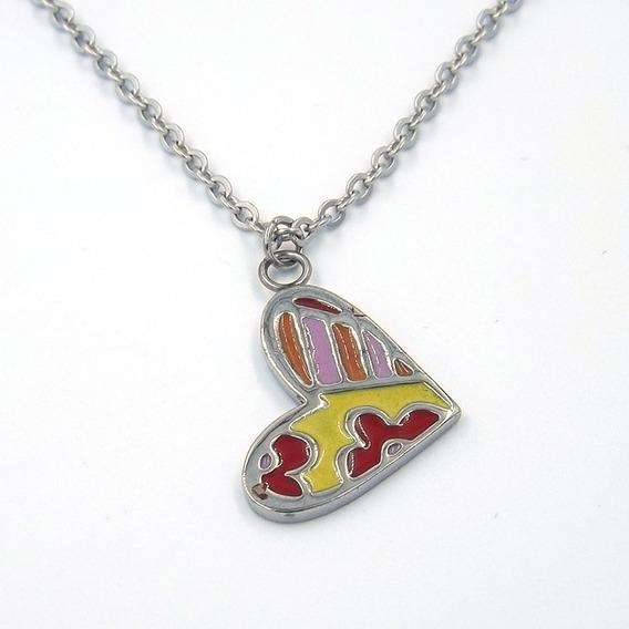 Collar De Acero Inoxidable Corazón Colorido Eg
