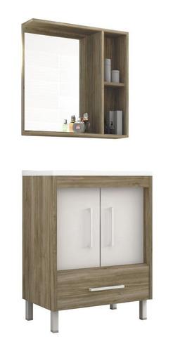 Imagen 1 de 7 de Mueble De Baño Bacha Botiquin Espejo 60 Cm 2 Puertas Y Cajon