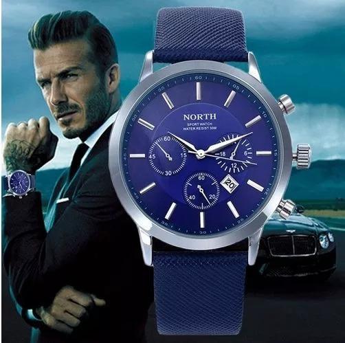 Relógio Masculino Analógico North Azul Pulseira De Couro