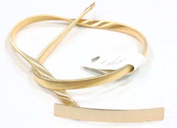 Lançamento Lindo Cinto Feminino Em Metal Elástico Dourado