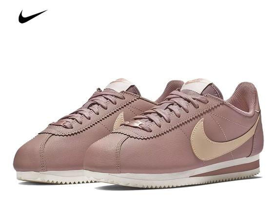 Zapatilla Nike Classic Cortez Leather Para Dama - Rosa
