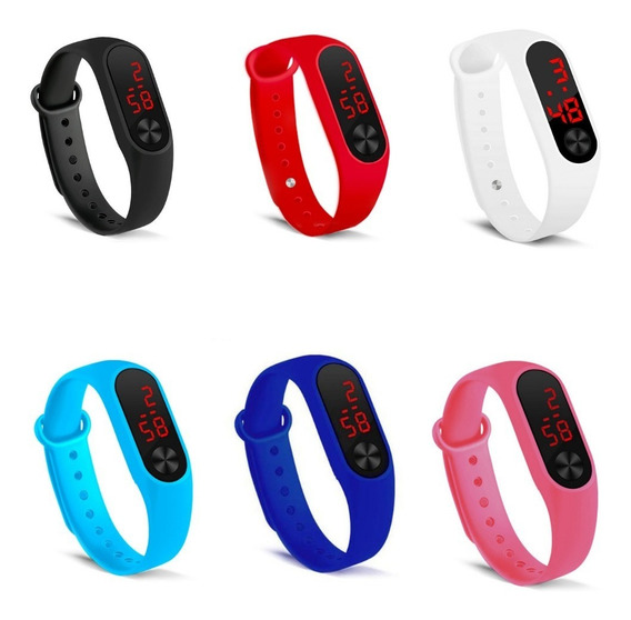 Relógio Bracelete Varias Cores Led Esportivo Silicone Masculino Feminino Com Calendário