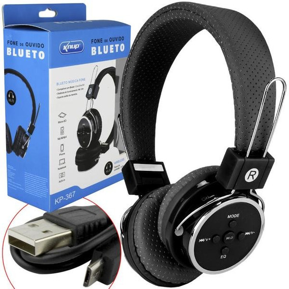 Kit 03 Fone Bluetooth 3.0 Sd Card P2 Fm Kp-367 Knup