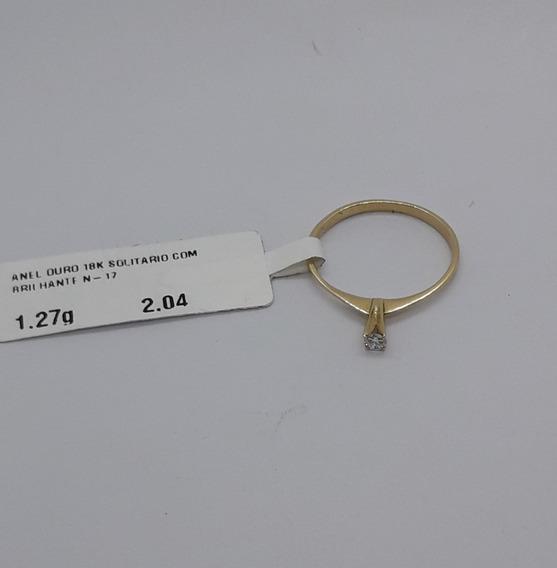 Anel Em Ouro 18k Solitário Com Brilhante N-17 1,27g